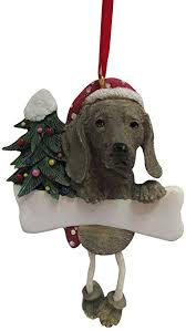weimaraner ornament with unique dangling legs