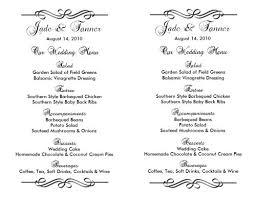 menu template wedding sle wedding menu templates free