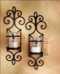Wall Candle Sconces With Glass Wall Sconce Ideas Perfect Finishing Wrought Iron Wall Candle