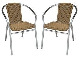 chaise de jardin lot de 2 chaises jardin alu résine tressée 3 coloris fizz