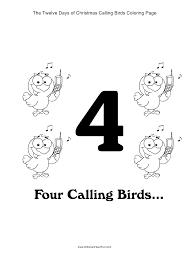 12 days of christmas four calling birds coloring page http www