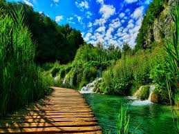 wallpaper nature colorful painting a village on a river