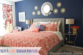 Coral And Navy Curtains Navy Blue Wall Archives Decorchick