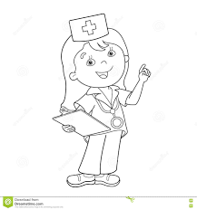 coloring page outline of cartoon doctor stock vector image 73294538