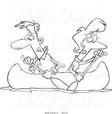 vector of a cartoon couple rowing a canoe in opposite directions
