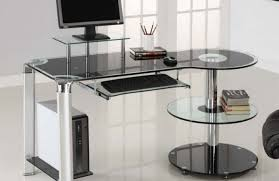 mini computer desk small glass office table curved glass computer desk glass top