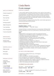 Chronological Event Planner Resume Template by Event Manager Cv Agi Mapeadosencolombia Co