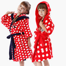 robe de chambre minnie child sleepwear robe coral fleece peignoir minnie white dots