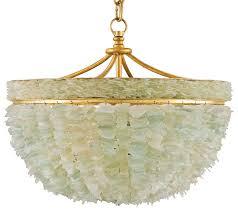 Gold Glass Chandelier Mira Coastal Beach Marine Sea Glass Gold 3 Light Bowl Chandelier