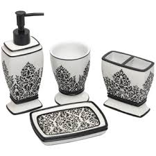 black white damask bath accessory 4 piece set overstock com