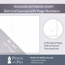 West Virginia travelers notebook images B6 5x7 dot grid bullet journal insert with page numbers jpg
