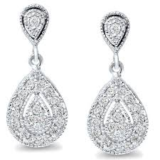 womens earrings 1 2ct pear shape diamond dangle vintage antique filigree style