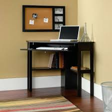 Small Brown Desk Furniture Black Painted Wood L Shape Small Corner