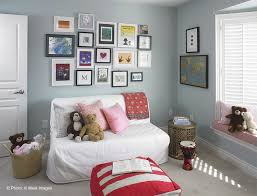 futon slipcover in kids contemporary with wall collage next to