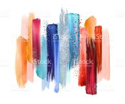 abstract watercolor brush strokes isolated on white background