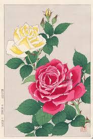 rose from shodo kawarazaki spring flower japanese woodblock prints