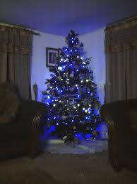tree with blue lights lights card and decore