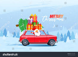 retro car christmas tree gift boxes stock vector 538753882