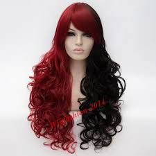 curly halloween wigs hallowen mix black and red hair batman long curly harley quinn
