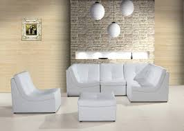 Modern White Leather Sectional Sofa by Divani Casa 207 Modern White Bonded Leather Sectional Sofa