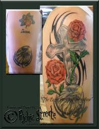 cross and roses cover up cover up tattoos by richie