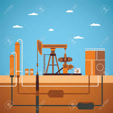 vector concept of equipped oil well with pipes network tank and