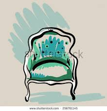 Hand Drawn Sketch Red Classic Armchair Stock Illustration