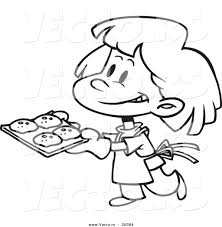vector of a cartoon baking cookies coloring page outline by