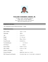 Sample Resume In The Philippines by Latest Resume Oct15