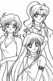 ami makoto and rei coloring page sailormoon sailor moon