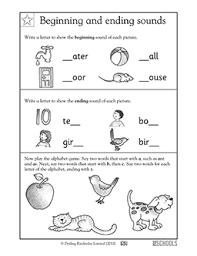 1st grade kindergarten reading worksheets beginning and ending