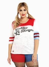 Halloween Costumes Size Women Squad Collection Harley Quinn Lil U0027 Monster Raglan Tee