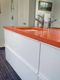 orange white bathroom makeover rachael franceschina hgtv