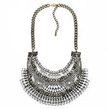 gold vintage statement necklace images Amazon gold crystal embellished tiered art deco bib vintage boho jpg
