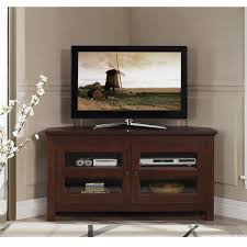Corner Tv Hutch 44 Inch Brown Wood Corner Tv Stand Free Shipping Today
