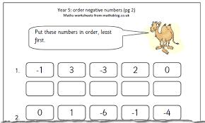 maths worksheet year 5 negative numbers maths blog