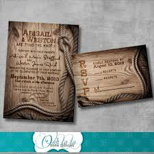 western wedding invitations rectangle beige wooden pattern ranch