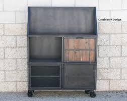 Bar Hutch Cabinet Vintage Industrial Liquor Cabinet Bar Urban Loft Decor
