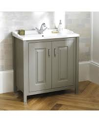 2 Basin Vanity Units Braxton Stone Grey Traditional 610mm Freestanding 2 Door Vanity