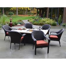 Sling Patio Dining Set - acadia 6 person sling patio dining set with fire pit table fire