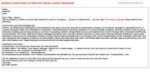 travel agency manager offer letter