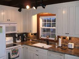 Dark Kitchen Cabinets With Backsplash Dark Brown Laminated Wooden Wall Mounted Cabinet Brown Mozaic Tile