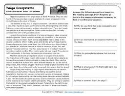 reading comprehension 4th grade taiga ecosystems 4th grade reading comprehension worksheet