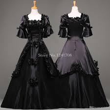 custom black vintage gothic rococo ball gown halloween party