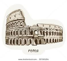 drawing coliseum colosseum illustration rome italy stock vector