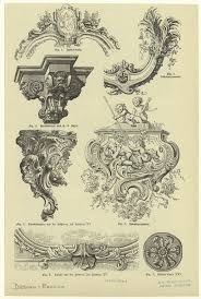 rococo architectural ornaments graphic design illustration