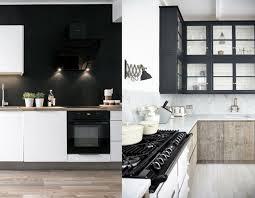 mur noir cuisine 20 inspirations pour une cuisine en noir et blanc joli place