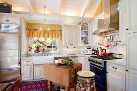 beautiful shabby chic kitchen with painted white exposed beams and