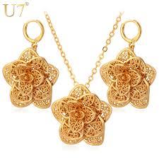 big flower necklace images U7 big flower necklace set gold color exquisite pendant necklace jpg