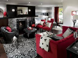 nifty red accent with big loveseat facing modern fireplace under